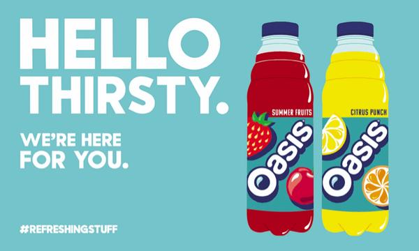 Refreshing bottles of Oasis