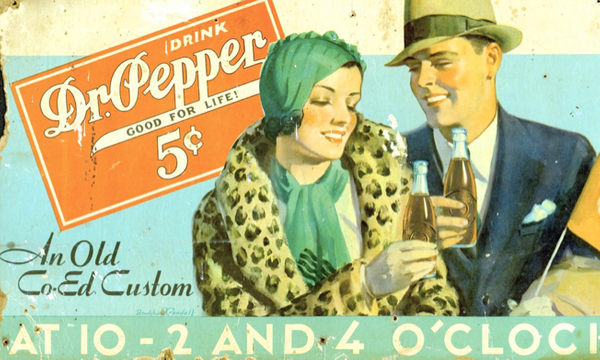 Vintage advertisement of a man and woman enjoying a Dr. Pepper