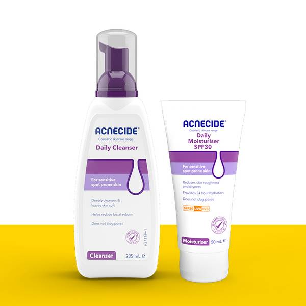 Acnecide skincare for acne includes daily cleanser and daily moisturiser