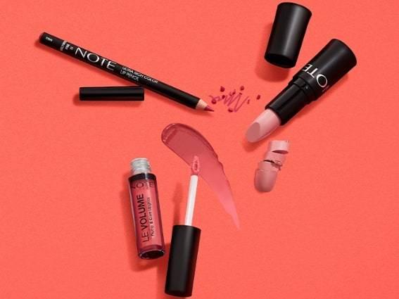 Note lip liner, lipstick and lip gloss