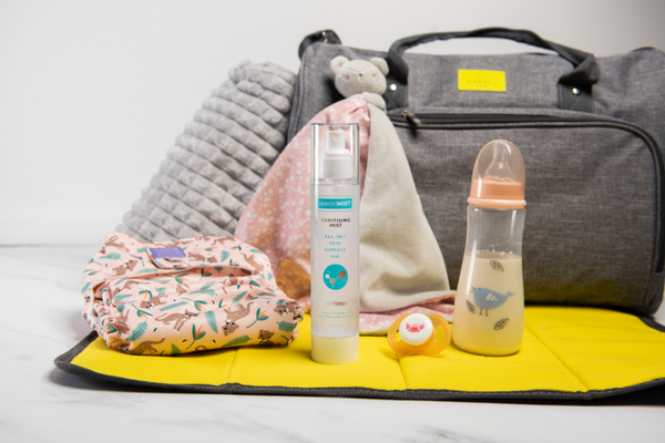 baby care products with a bottle of spectriskin standing in the middle. Visit our instagram