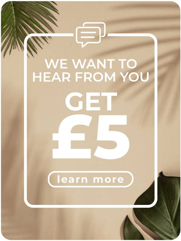 Leave a review and receive £5 credit