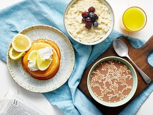 Selection of exante breakfast range including Pancakes, Choco Puffs and Porridge