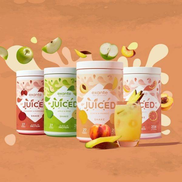 A world's first JUICY meal replacement shakes available in Peach & Mango, Apple & Pear, Cranberry & Pomegrante and Grapefruit