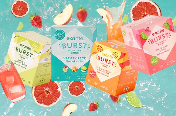 BURST Caffeine Free available in 3 flavours; Apple & Elderflower, Strawberry & Lime, Blood Orange & Raspberry and Variety Pack