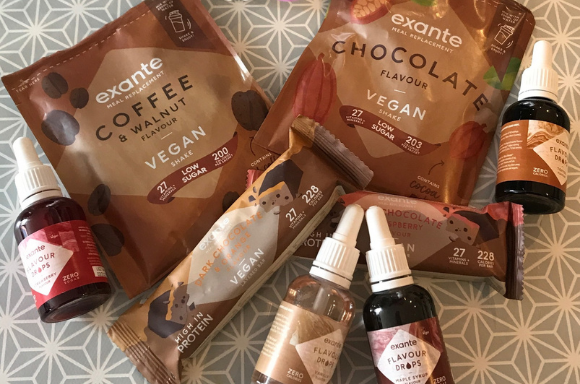 Mix of low sugar exante products including vegan shakes, vegan bars and flavour drops