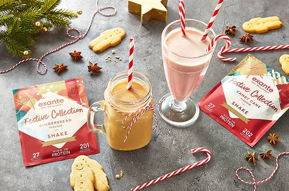exante festive range including the Candy Cane Shake and the Gingerbread Shake.