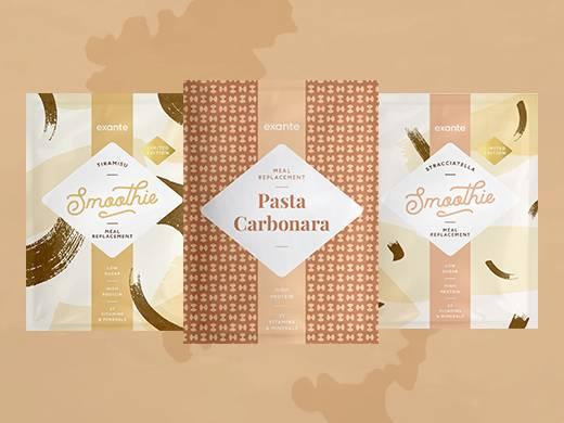 los sugar tiramisu shake, low sugar stracciatella shake and meal replacement pasta carbonara