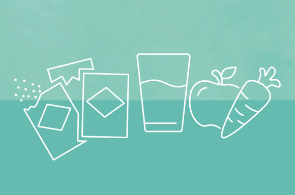 Icon showing meal replacement sachet, glass of water & fruit & veg