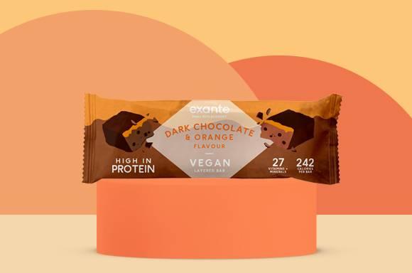 Barretta vegana stratificata gusto cioccolato fondente e arancia