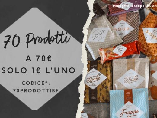 Scegli 70 tra barrette, frullati, snack, pasti e altro ancora per soli 70€! Con il codice* 70PRODOTTIBF