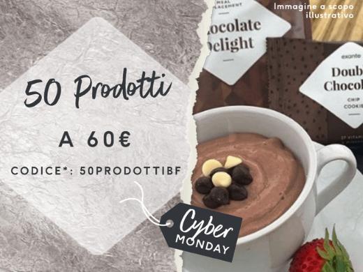 Scegli 50 tra barrette, frullati, snack, pasti e altro ancora per soli 60€! Con il codice*50PRODOTTIBF