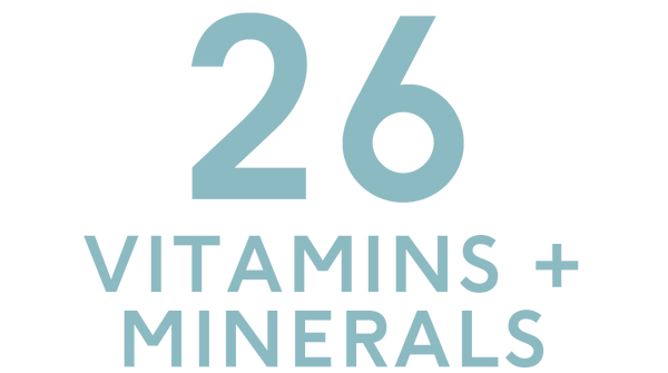 Our Products contain 26 vitamins and minerals. Find out more here