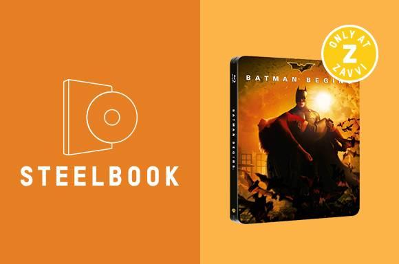 BATMAN BEGINS 2 DISC BLU-RAY STEELBOOK ZAVVI EXCLUSIVE