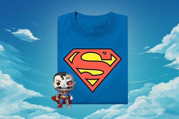 DC Comics Cyborg Superman SDCC 2020 EXC Pop! Vinyl Figur & Superman T-Shirt