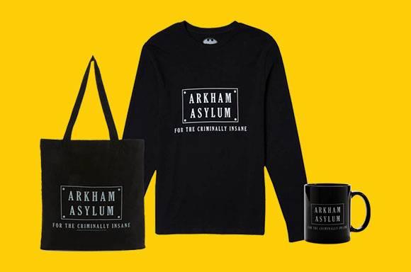 Arkham Asylum Long Sleeve Shirt, Tote and Mug Bundle