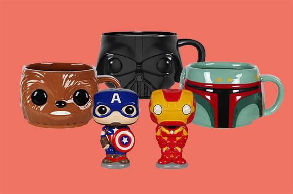 Star Wars Darth Vader Pop! Home mug Star Wars Boba Fett Pop! Home mug Star Wars Chewbacca Pop! Home mug Captain America and Iron Man Pop! Home salt and pepper shaker