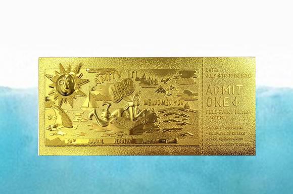 Réplique de Ticket Les Dents de la Mer Plaqué Or 24k & 2 Puzzles Offerts
