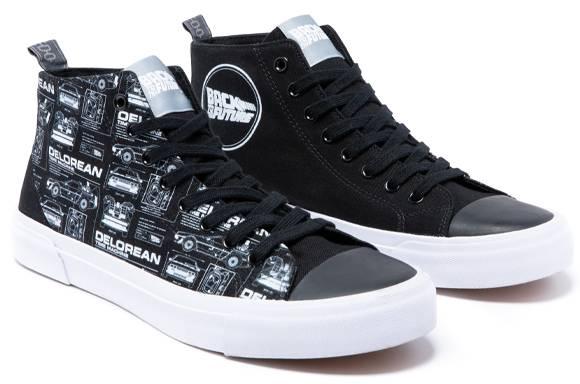 Chaussures en toile noire coupe haute Akedo X Retour Vers le Futur