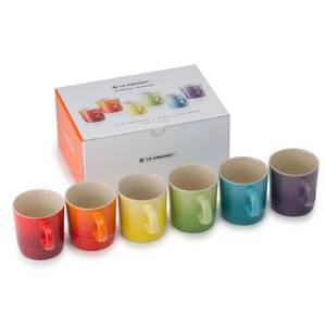 Le Creuset Stoneware Rainbow Espresso Mugs (Set of 6) - 100ml