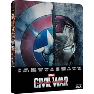 Captain America: Civil War 3D + Version 2D - Steelbook d'édition limitée exclusive Zavvi (Édition UK)