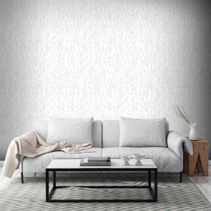 Superfresco Willamena Sprig Motif Glitter Wallpaper - Silver/White