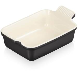 Le Creuset Stoneware Small Heritage Rectangular Roasting Dish - 19cm - Satin Black