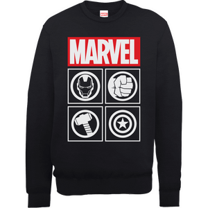 Marvel Avengers Assemble Icons Pullover Sweatshirt - Black