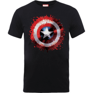 Marvel Avengers Assemble Captain America Art Shield Badge T-Shirt - Black