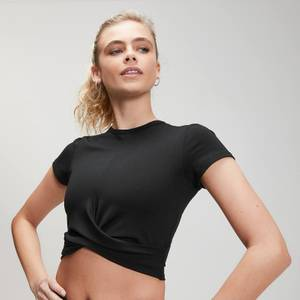 MP Women's Power Short Sleeve Crop Top - Black
