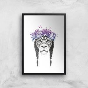 Balazs Solti Lion and Flowers Art Print