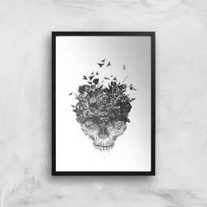 Balazs Solti Skulls and Flowers Art Print