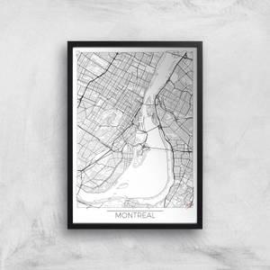 Affiche Carte de Montréal (Noir et Blanc)