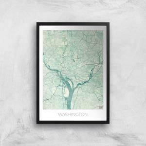 City Art Coloured Washington Map Art Print