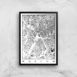 City Art Black and White Moscow Map Art Print