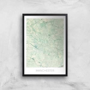 City Art Coloured Manchester Map Art Print