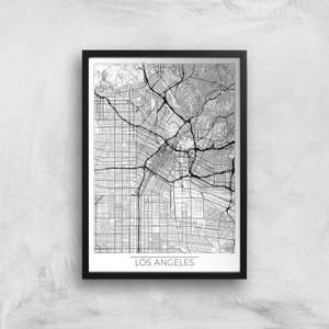 Affiche Carte de Los Angeles (Noir et Blanc)