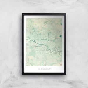 City Art Coloured Glasgow Map Art Print