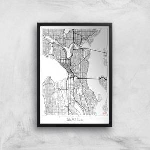 City Art Black and White Outlined Seattle Map Art Print