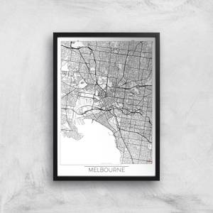 City Art Black and White Outlined Melbourne Map Art Print