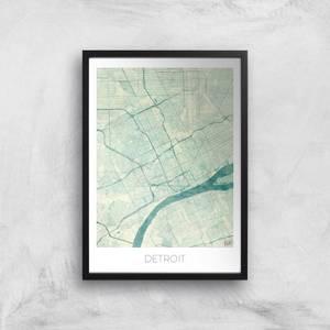 City Art Coloured Detroit Map Art Print