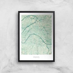 City Art Coloured Paris Map Art Print