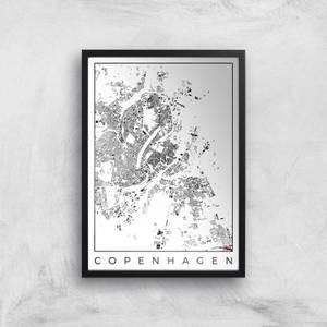 City Art Black and White Copenhagen Map Art Print