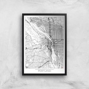 City Art Black and White Outlined Portland Map Art Print