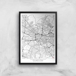 Affiche Carte de Glasgow (Noir et Blanc)