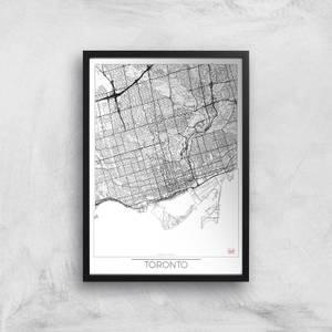 Affiche Carte de Toronto (Noir et Blanc)