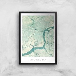 City Art Coloured Philadelphia Map Art Print