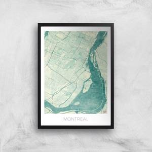 City Art Coloured Montreal Map Art Print