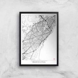 City Art Black and White Outlined Barcelona Map Art Print
