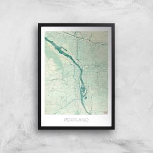 City Art Coloured Portland Map Art Print
